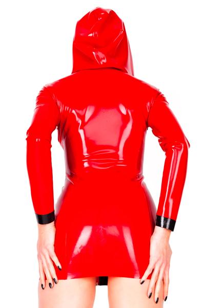 Ladies Mini Dress With Hood Glued Latex Dresses Lakkshop
